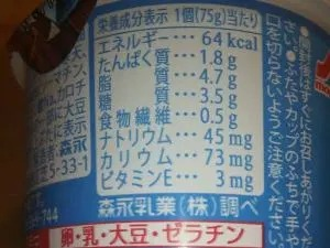 脂質メインの成分表示